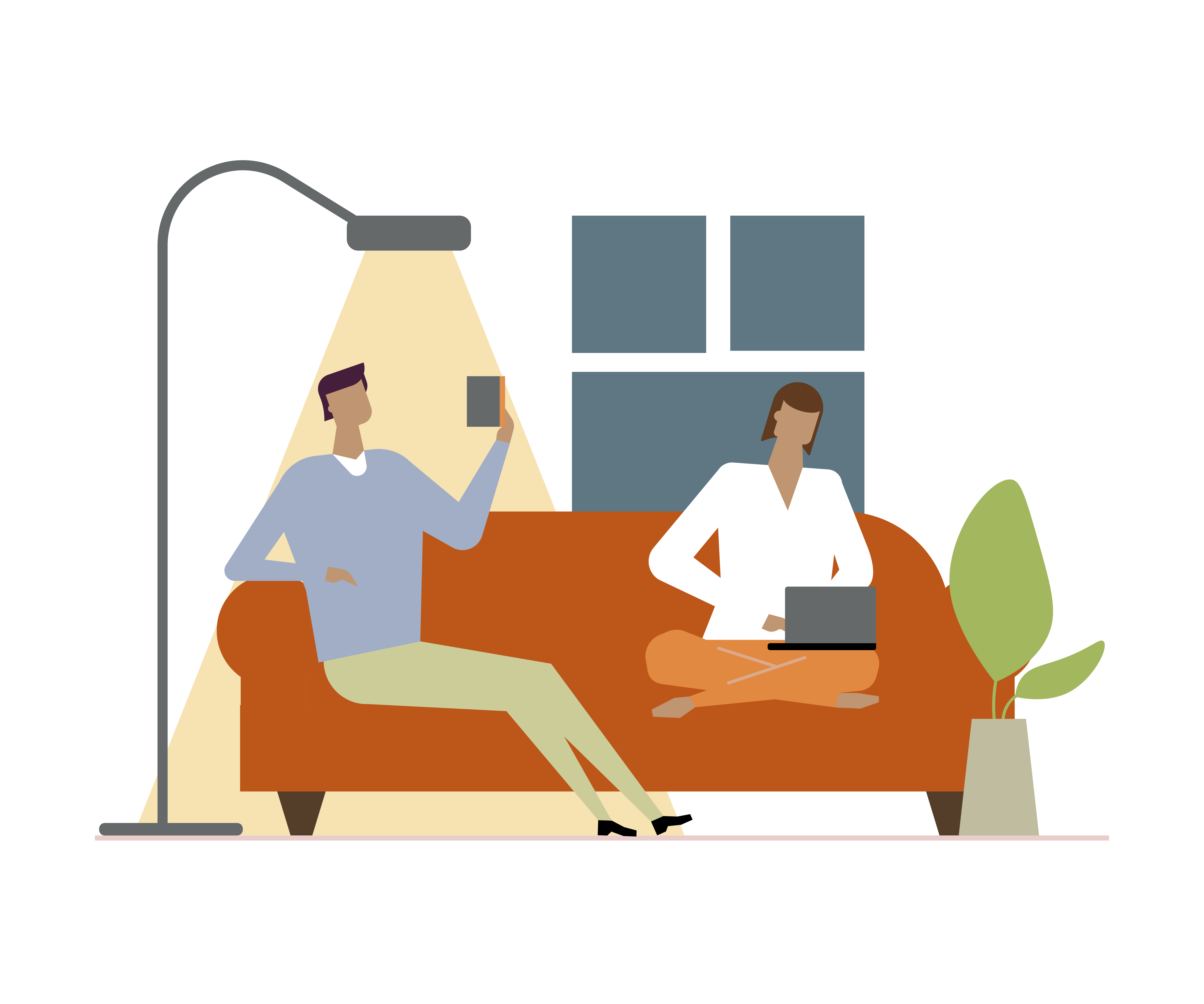 Couple on Couch Graphic