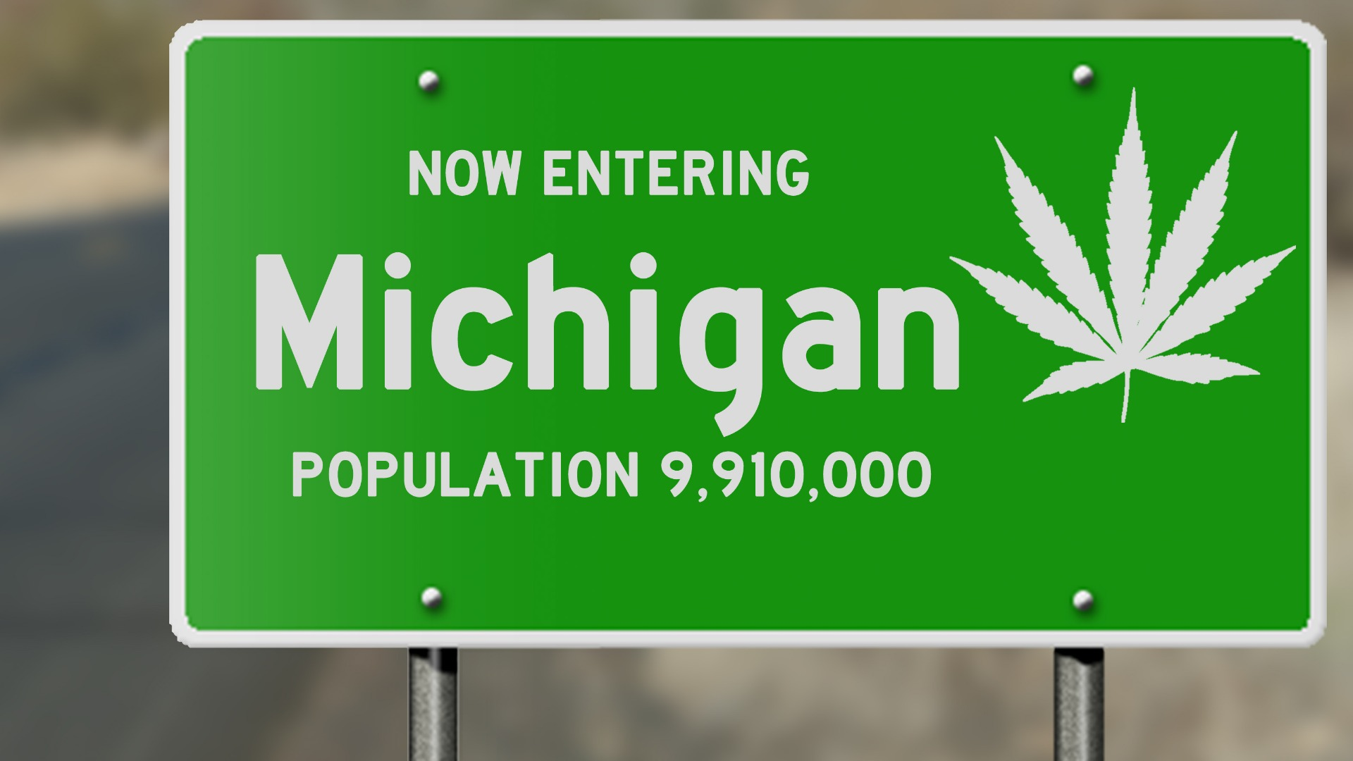 michigan-highway-sign-with-marijuana-leaf-picture-id485094822